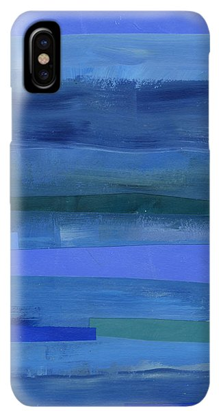 Abstract iPhone XS Max Case - Blue Stripes 1 by Jane Davies
