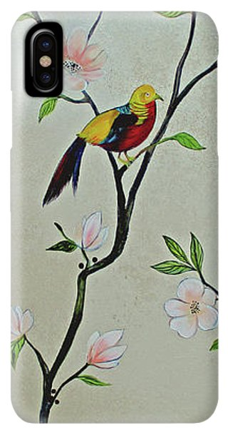 Humming Bird iPhone XS Max Case - Chinoiserie - Magnolias And Birds #1 by Shadia Derbyshire