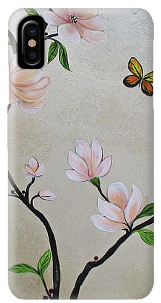 Humming Bird iPhone XS Max Case - Chinoiserie - Magnolias And Birds #3 by Shadia Derbyshire