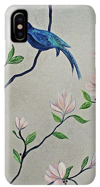 Humming Bird iPhone XS Max Case - Chinoiserie - Magnolias And Birds #4 by Shadia Derbyshire