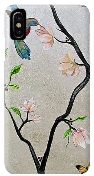 Humming Bird iPhone XS Max Case - Chinoiserie - Magnolias And Birds #5 by Shadia Derbyshire