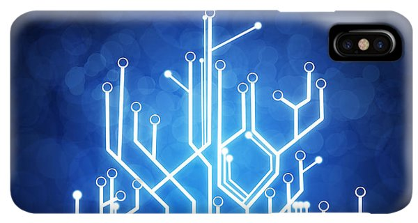 Abstract iPhone XS Max Case - Circuit Board Technology by Setsiri Silapasuwanchai