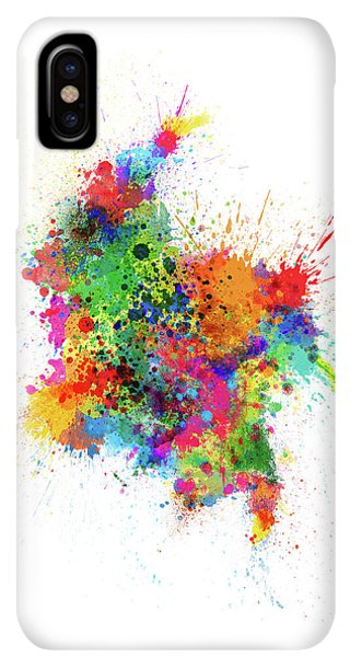 South America iPhone XS Max Case - Colombia Paint Splashes Map by Michael Tompsett