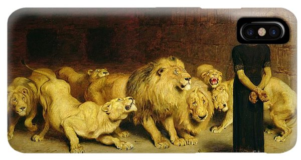 Prayer iPhone XS Max Case - Daniel In The Lions Den by Briton Riviere