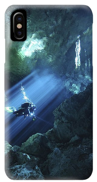Scuba Diving iPhone XS Max Case - Diver Silhouetted In Sunrays Of Cenote by Karen Doody