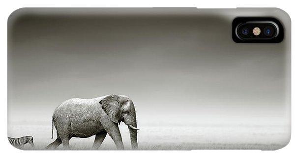 Africa iPhone XS Max Case - Elephant With Zebra by Johan Swanepoel