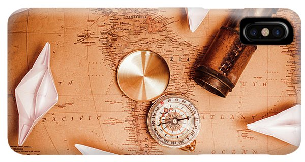 Navigation iPhone XS Max Case - Explorer Desk With Compass, Map And Spyglass by Jorgo Photography - Wall Art Gallery
