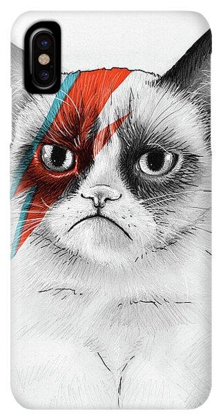 iPhone XS Max Case - Grumpy Cat As David Bowie by Olga Shvartsur