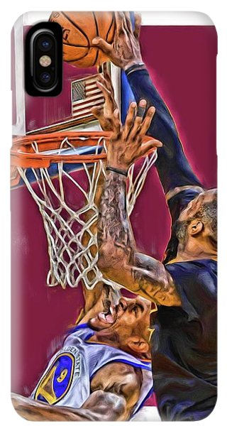 6866443c42b183 Lebron James iPhone XS Max Case - Lebron James Cleveland Cavaliers Oil Art  by Joe Hamilton