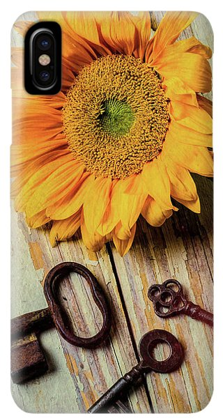 Sunflower Seeds iPhone XS Max Case - Moody Sunflower With Keys by Garry Gay