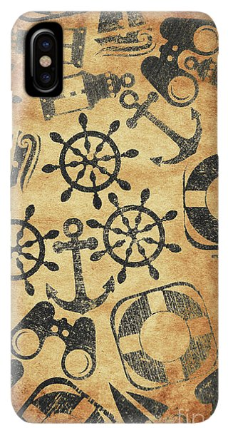 Navigation iPhone XS Max Case - Old Nautical Parchment by Jorgo Photography - Wall Art Gallery