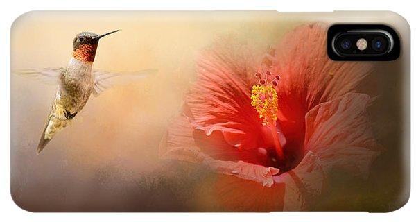 Humming Bird iPhone XS Max Case - Romancing The Hibiscus by Jai Johnson