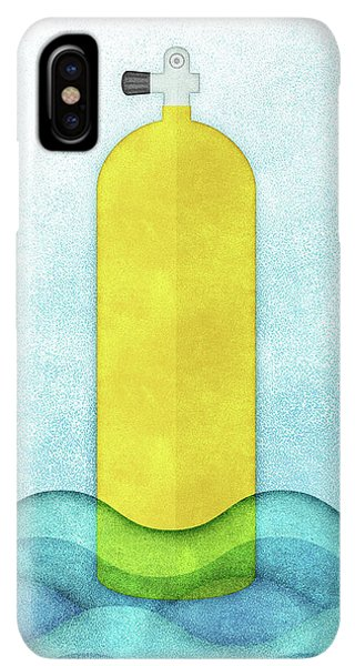 Scuba Diving iPhone XS Max Case - Scuba Diving - Yellow Tank On Blue by Flo Karp