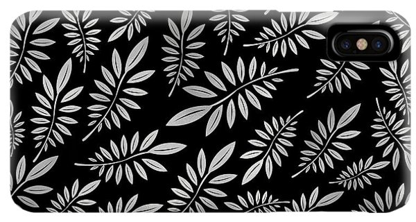 Abstract iPhone XS Max Case - Silver Leaf Pattern 2 by Stanley Wong