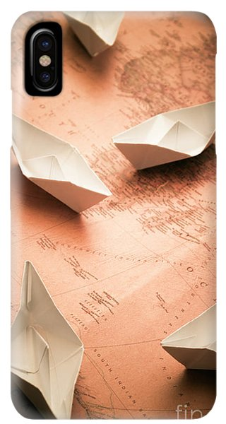 Navigation iPhone XS Max Case - Small Paper Boats On Top Of Old Map by Jorgo Photography - Wall Art Gallery