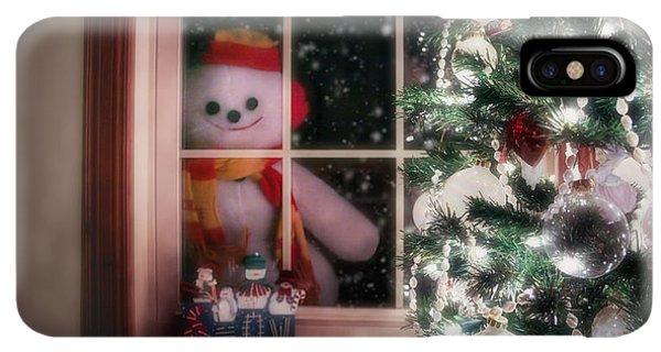Knit Hat iPhone XS Max Case - Snowman At The Window by Tom Mc Nemar