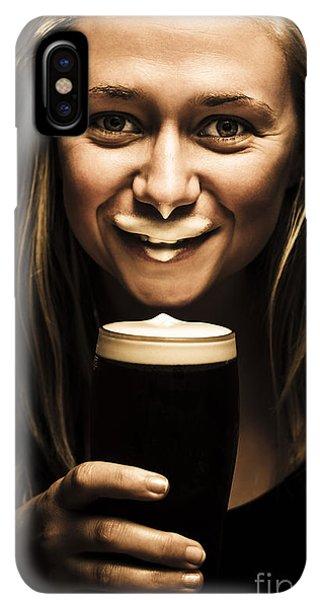 St. Patricks Day iPhone XS Max Case - St Patricks Day Woman Imitating An Irish Man by Jorgo Photography - Wall Art Gallery