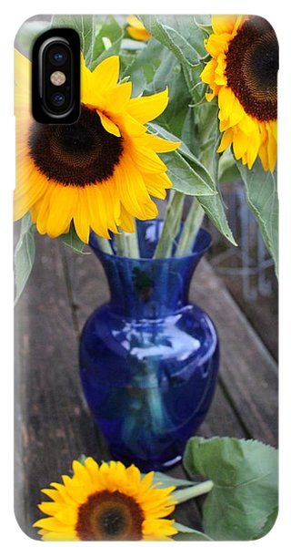 Sunflower Seeds iPhone XS Max Case - Sunflowers And Blue Vase - Still Life by Dora Sofia Caputo Photographic Design and Fine Art