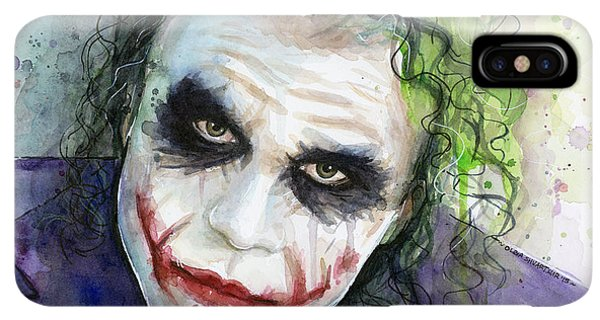 The iPhone XS Max Case - The Joker Watercolor by Olga Shvartsur
