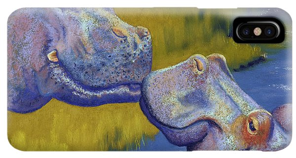 Africa iPhone XS Max Case - The Kiss - Hippos by Tracy L Teeter