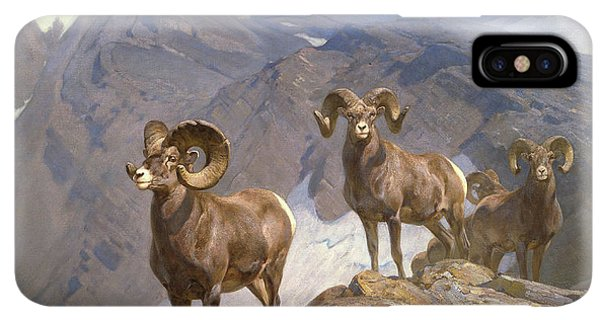 Rocky Mountain Bighorn Sheep iPhone XS Max Case - The Mountaineers-big Horn Sheep On Wilcox Pass by Rungius Carl