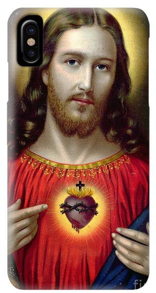 Prayer iPhone XS Max Case - The Sacred Heart Of Jesus by English School