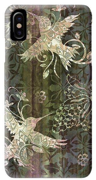Humming Bird iPhone XS Max Case - Victorian Hummingbird Green by JQ Licensing