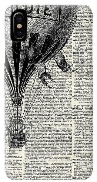 The iPhone XS Max Case - Vintage Hot Air Balloon Illustration,antique Dictionary Book Page Design by Anna W