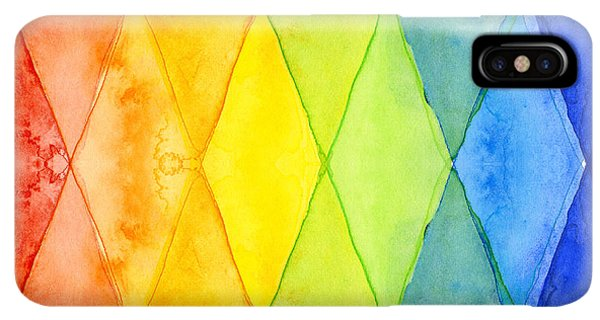 Abstract iPhone XS Max Case - Watercolor Rainbow Pattern Geometric Shapes Triangles by Olga Shvartsur