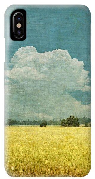 Abstract iPhone XS Max Case - Yellow Field On Old Grunge Paper by Setsiri Silapasuwanchai