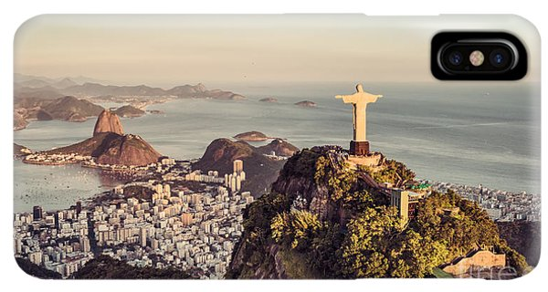 South America iPhone XS Max Case - Aerial Panorama Of Botafogo Bay And by Marchello74