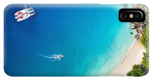 Navigation iPhone XS Max Case - Amazing View To Yacht In Bay With Beach by Im photo