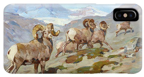 Rocky Mountain Bighorn Sheep iPhone XS Max Case - Bighorn Sheep, Nigel Pass, Alberta, 1919 by Carl Rungius