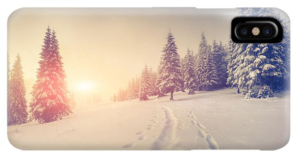 The Sun iPhone XS Max Case - Foggy Winter Sunrise In The Mountains by Andrew Mayovskyy
