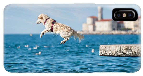 Puppies iPhone XS Max Case - Golden Retriever Dog Jumping Into Sea by Sonsart