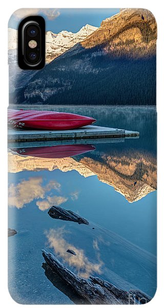 Rocky Mountain iPhone XS Max Case - Lake Louise Canoes In Banff National by Pierre Leclerc
