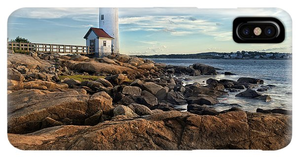 Navigation iPhone XS Max Case - Lighthouse At Sunset Off Annisquam by Christian Delbert