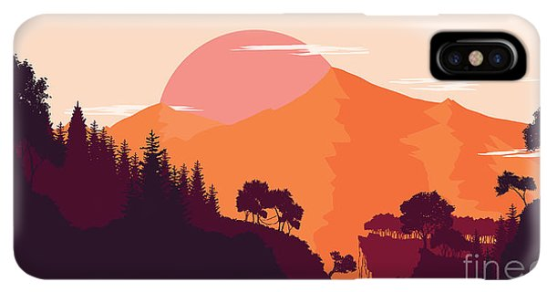 Rocky Mountain iPhone XS Max Case - Mountain And Forest Landscape In Day by Miomart