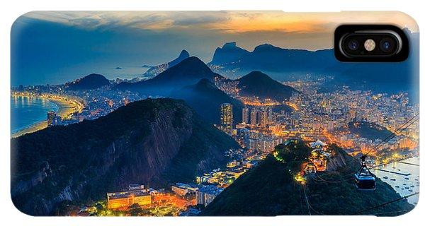 South America iPhone XS Max Case - Night View Of Copacabana Beach, Urca by F11photo