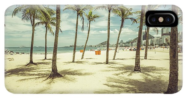 South America iPhone XS Max Case - Palms With Shadows On Copacabana Beach by Marchello74
