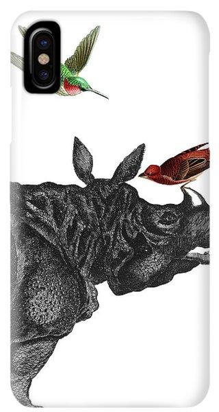 Humming Bird iPhone XS Max Case - Rhinoceros With Birds Art Print by Madame Memento