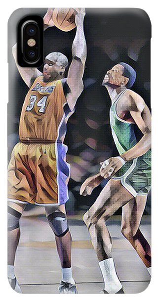 Celtics iPhone XS Max Case - Shaquille O Neal Vs Bill Russell Abstract Art 1 by Joe Hamilton