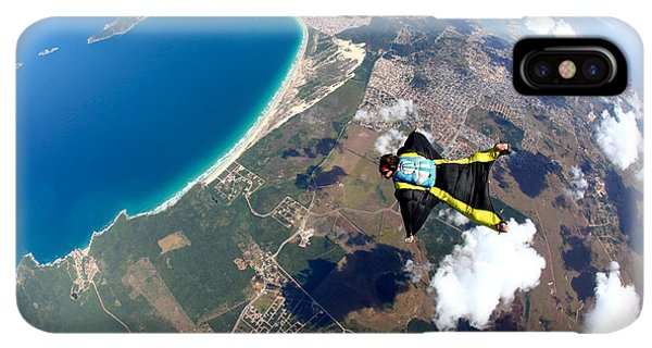 South America iPhone XS Max Case - Skydive Wing Suit Over Brazilian Beach by Rick Neves