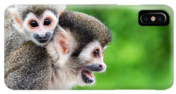South America iPhone XS Max Case - Two Squirrel Monkeys, A Mother And Her by Jess Kraft