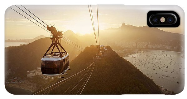 South America iPhone XS Max Case - View Of A Cable Car At Sunset, Showing by Claire Mcadams