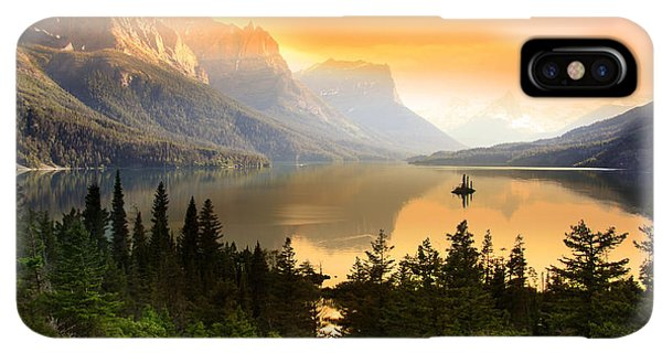 The Sun iPhone XS Max Case - Wild Goose Island In Glacier National by Snehit