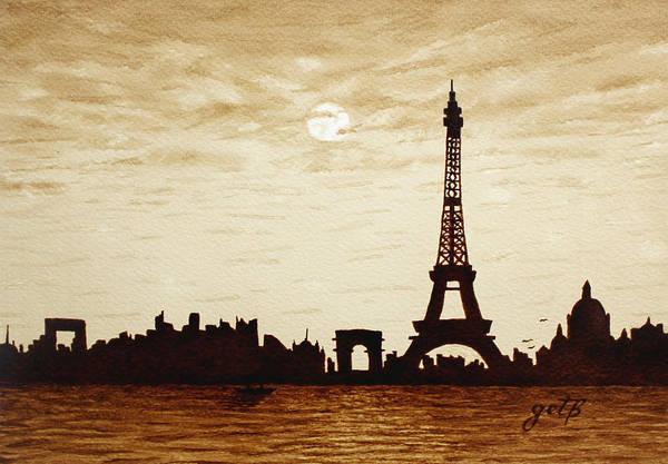 Paris Under Moonlight Silhouette France Poster