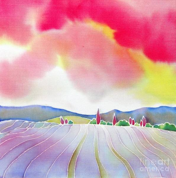 Poster featuring the painting  Sunset On The Lavender Farm by Hisayo Ohta