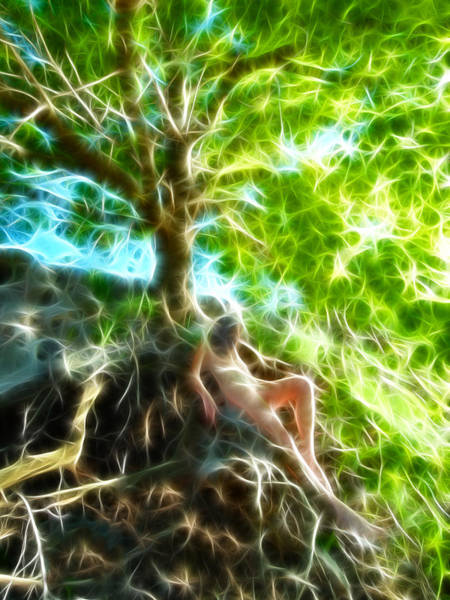 0789 Abstract Figure Energy Nude In Nature Under Tree Poster