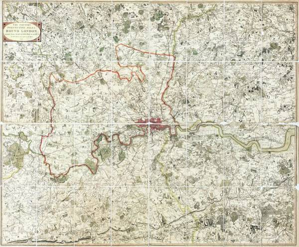 18th Century Map Of London Poster